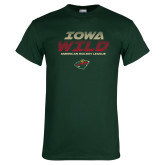 Dark Green T Shirt-Iowa Wild Lined Design