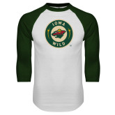 White/Dark Green Raglan Baseball T Shirt-Secondary Mark