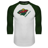 White/Dark Green Raglan Baseball T Shirt-Iowa Wild w Bear Head