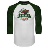 White/Dark Green Raglan Baseball T Shirt-5 Years