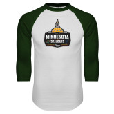 White/Dark Green Raglan Baseball T Shirt-Minnesota vs St Louis