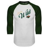 White/Dark Green Raglan Baseball T Shirt-Iowa Wild Script