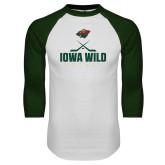White/Dark Green Raglan Baseball T Shirt-Iowa Wild Hockey Sticks and Puck Graphic