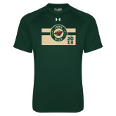 Under Armour Dark Green Tech Tee-Iowa Wild Block Design