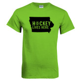 Lime Green T Shirt-Hockey Lives Here State - One Color