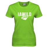 Ladies Lime Green T Shirt-IAWILD w Bear Head