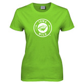 Ladies Lime Green T Shirt-Bear Head Tone