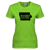 Ladies Lime Green T Shirt-Hockey Lives Here State - One Color