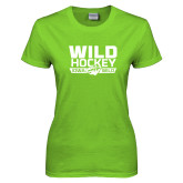 Ladies Lime Green T Shirt-Wild Hockey Banner - One Color