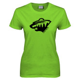 Ladies Lime Green T Shirt-Bear Head - One Color