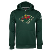 Under Armour Dark Green Performance Sweats Team Hoodie-Iowa Wild w Bear Head