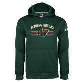 Under Armour Dark Green Performance Sweats Team Hoodie-Iowa Wild Arched