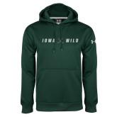 Under Armour Dark Green Performance Sweats Team Hoodie-Iowa Wild Crossed Sticks