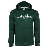 Under Armour Dark Green Performance Sweats Team Hood-Hockey Lives Here Cityscape Cutout