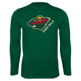 Performance Dark Green Longsleeve Shirt-Iowa Wild w Bear Head