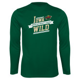 Performance Dark Green Longsleeve Shirt-Iowa Wild Banner Design