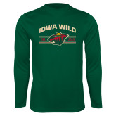 Performance Dark Green Longsleeve Shirt-Iowa Wild Arched