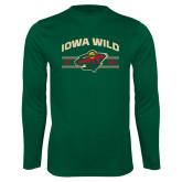 Syntrel Performance Dark Green Longsleeve Shirt-Iowa Wild Arched