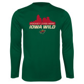 Performance Dark Green Longsleeve Shirt-Hockey Lives Here Cityscape