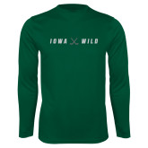 Performance Dark Green Longsleeve Shirt-Iowa Wild Crossed Sticks