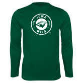 Performance Dark Green Longsleeve Shirt-Iowa Wild Seal One Color