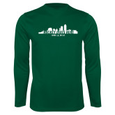 Performance Dark Green Longsleeve Shirt-Hockey Lives Here Cityscape Cutout