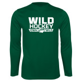 Performance Dark Green Longsleeve Shirt-Wild Hockey