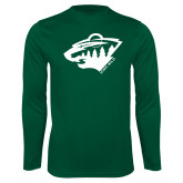 Performance Dark Green Longsleeve Shirt-Bear Head