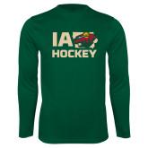 Syntrel Performance Dark Green Longsleeve Shirt-IA Hockey w State
