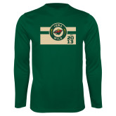 Performance Dark Green Longsleeve Shirt-Iowa Wild Block Design