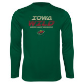 Performance Dark Green Longsleeve Shirt-Iowa Wild Lined Design