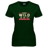 Ladies Dark Green T Shirt-Iowa Wild 3 Marks Design