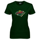 Ladies Dark Green T Shirt-Iowa Wild w Bear Head