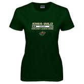 Ladies Dark Green T Shirt-Hockey Lives Here
