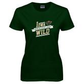 Ladies Dark Green T Shirt-Iowa Wild Banner Design
