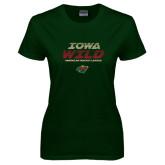 Ladies Dark Green T Shirt-Iowa Wild Lined Design