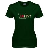 Ladies Dark Green T Shirt-IA HKY