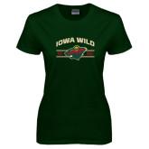 Ladies Dark Green T Shirt-Iowa Wild Arched
