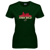 Ladies Dark Green T Shirt-Hockey Lives Here Cityscape