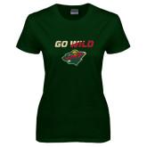 Ladies Dark Green T Shirt-Go Wild