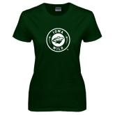 Ladies Dark Green T Shirt-Iowa Wild Seal One Color