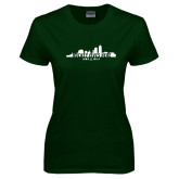 Ladies Dark Green T Shirt-Hockey Lives Here Cityscape Cutout