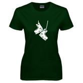 Ladies Dark Green T Shirt-Skates