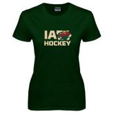 Ladies Dark Green T Shirt-IA Hockey w State