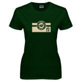 Ladies Dark Green T Shirt-Iowa Wild Block Design