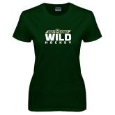 Ladies Dark Green T Shirt-Wild Hockey Banner