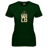Ladies Dark Green T Shirt-Iowa Wild Stacked