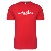 Next Level SoftStyle Red T Shirt-Hockey Lives Here Cityscape Cutout