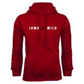 Cardinal Fleece Hoodie-Iowa Wild Crossed Sticks