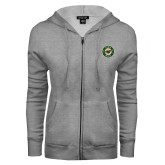 ENZA Ladies Grey Fleece Full Zip Hoodie-Secondary Mark